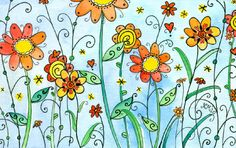 Flores Flower Doodles, Doodle Flowers, Moon Cookies, Red Flowers, Planting Flowers, Paint Colors, Watercolor Paintings, Vibrant, Orange