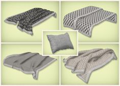 simsrocuted: Yass, finally done with these! This is a set of neutral beddings, blankets and pillows. The original bedding is made by orangemittens, the blankets made by Jonesi, the pillow by LeeHee and the latter two converted to Sims 4 by msteaqueen. The patterns seen here on the beddings are available for all items - so you go ahead and mix and match :) I used the playable version of the blankets! Let me know if there's any issues and otherwise: enjoy!DOWNLOAD CC: Floor - Wall - Bed
