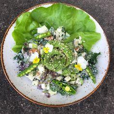 classic Waldorf salad. Romaine lettuce, kale, Apple, celery, walnuts in a creamy dressing topped with avocado rise and hemp hearts.  @opennewdoors