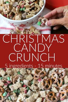 Christmas Candy Crunch :: You are only 15 minutes and 5 ingredients away from this delicious Christmas treat! AND it makes a great homemade gift too! Christmas Crunch, Christmas Sprinkles, Christmas Candy, Christmas Treats, Christmas Baking, Christmas Cookies, Xmas, Candy Recipes, Fall Recipes