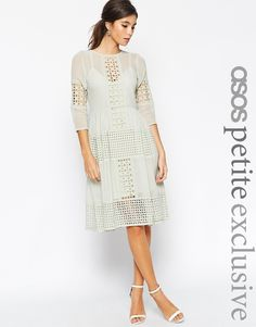 ASOS+PETITE+Midi+Dress+with+Cutwork+Detail