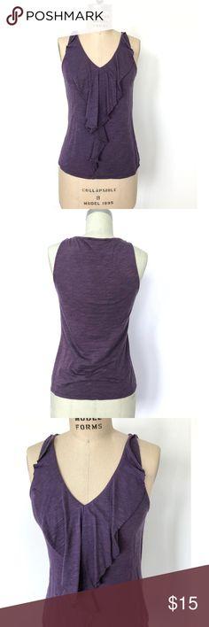 "MICHAEL KORS - Ruffle Front Knit Top Flattering ruffle front knit top in a pretty eggplant purple color.  MATERIALS: Cotton / Spandex slub jersey CONDITION:  good MEASUREMENTS: Chest 16"" Length -23 1/2"" DETAILS: -sleeveless -front ruffle with raw edge -narrow shoulder strap -slight waist shape MICHAEL Michael Kors Tops Tank Tops"