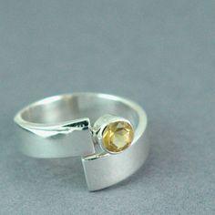 Solid Sterling Zilver Citrien Ring rond Citrien Ring gemaakt