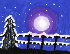 Snowy Winter Silhouette Painting. A two week painting project with striking results.