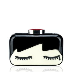 Lulu Guinness Black Doll Face Fifi Women's Clutch Bag - ShopStyle Leather Evening Bags, Black And White Face, Designer Handbags Online, Lulu Guinness, Dress And Heels, Luxury Bags, Doll Face, Clutches, Designer Clutch