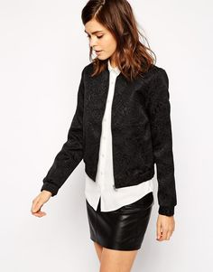 Oasis | Oasis Jacquard Luxe Bomber Jacket at ASOS