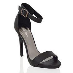 5aa64ec028810 Essex Glam Womens Platform High Heel Black Synthetic Ankle Strap Sandals 6  B(M) US