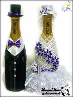 Botellas decoradas para centro de mesas o recuerdos de boda
