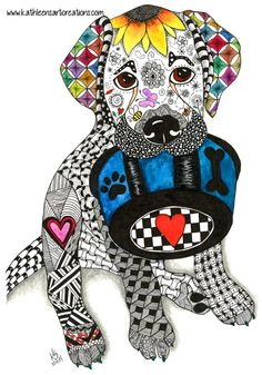 """Whimsical Zentangle® Inspired Yellow Labrador named """"Heidi"""". Completed October 1, 2014. A 12-pack of note cards are available for $23.00 with FREE shipping and handling. Prints, plates, mugs, mousepads, doggie tanks, coasters, checkbook covers, throw pillows  etc., also available."""