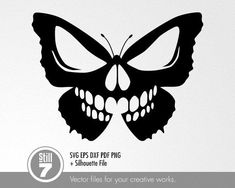 Skull Butterfly – svg cutting file + eps dxf pdf png + silhouette file - Sites new Skull Stencil, Skull Art, Tatouage Rock And Roll, Tattoo Drawings, Art Drawings, Tattoo Sketches, Herz Tattoo, Butterfly Drawing, Skull Butterfly Tattoo