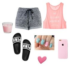 """""""Chillin with my phone home alone"""" by aniyahg ❤ liked on Polyvore featuring Victoria's Secret, women's clothing, women, female, woman, misses and juniors"""