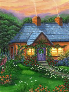 Rose Cottage by Bonnie Cook ~ acrylic