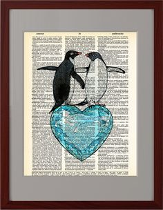 Two Happy Penguins, Funny heart poster, Dictionary Print Love poster, Gift poster, Dorm College Home Wall decor, CODE/216