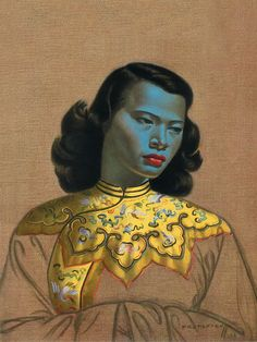 Chinese Girl -Tretchikoff Painting. Just found an amazing version of this work on stretched canvas Fabric from the Selvedge Group Australia