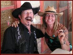 Kinky on the famous porch at Terlingua
