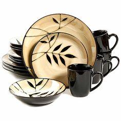 Gibson Palm Floral Stoneware Dinnerware Set - Cream, Service for 4 Stoneware Dinnerware Sets, China Dinnerware, Tableware, Caramel, Dinner Plate Sets, Dish Sets, Leaf Design, Bedding Shop, Kitchen Ideas