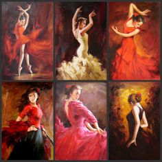 Spanish Dancers Paintings | ... Dance Oil Painting,Dancer Oil Painting,Impression Handmade Oil