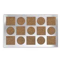 """Coir Geo Stainless Doormat by Chiasso. $38.00. Good scrubbing surface when it's needed. 29.5""""L x 18""""W x 1""""H. Stainless steel overlay. Backed with rubber. Smooth steel delivers elegance and durability to our impressive modern doormats. Our doormats are a simple way to update the look of your entryway. The doormats featured in this photograph are all backed with rubber, and for each design, the smart cutout of the stainless steel overlay lets the mat show through. C..."""