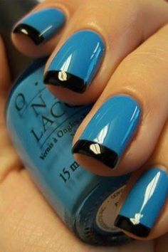 Blue Nail's with a Black Tip!!