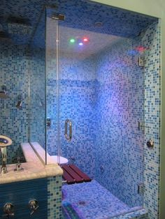 steam shower from thermasol with synchronized lighting features blue green and red lighting - Bing Steam Shower