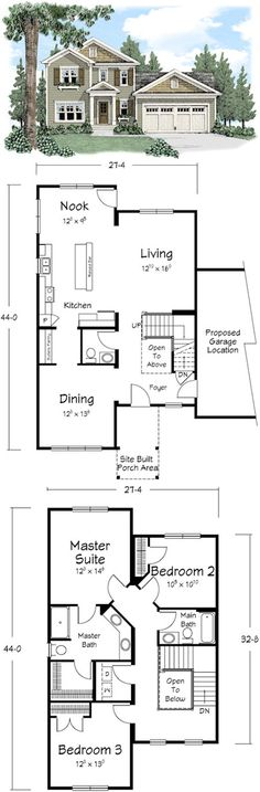 Two story plans on pinterest modular homes galley for Galley style kitchen floor plans