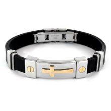 Stainless Steel and Black Rubber Bracelet With Gold Plated Cross by West Coast Jewelry new 1995 1295 Visit the Most Wished For in Bracelets list for authoritative information on this products current rank Rubber Bracelets, Bracelets For Men, Bangle Bracelets, Religious Jewelry, Adjustable Bracelet, Black Rubber, Gold Jewelry, Cross Jewelry, Nice Jewelry