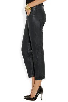 Current/Elliott | The Boyfriend washed-leather cropped pants | NET-A-PORTER.COM