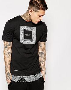 Cayler & Sons Black Label Longline T-Shirt With Bandana Print