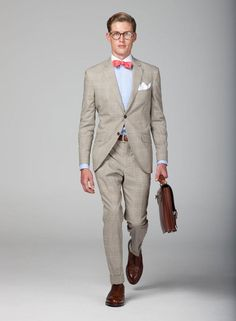 Hackett spring/summer lookbook 2012- the subtle plaid suit and the leather briefcase and shoes are off the hook. Love the white pocket square to match the white collar with the accent of a pink bow tie. Excellent style.