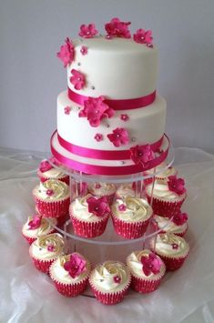 Hot Pink Cupcake Tower