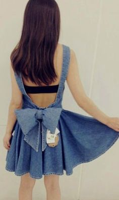 Bowknot denim dress