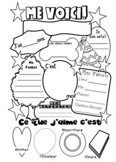 "Educational infographic & data visualisation Me Voici: French ""About Me"" Poster Infographic Description Me voici. A good introduction activity for the new French Flashcards, French Worksheets, French Teaching Resources, Teaching French, Introduction Activities, About Me Poster, French Education, Core French, French Classroom"