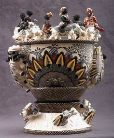 Admore Ceramics (South Africa)  Hippo Vase Sculptor; Lovemore/ Alex Sibanda Painter; Jabu Nene