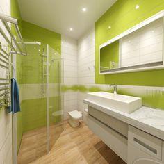 Считается, что для ванной комнаты самые подходящие цвета - это или песочно-кофейные, или под камень, или голубоватые. Необъяснимо, но факт. Но бывает, заказчики согласны на более яркие решения! А почему это не может быть травянисто-зеленый? В городе часто может не хватать зелени…