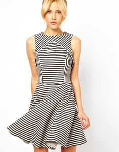 Skater Dress In Stripe Jacquard