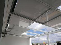 techos deslizantes motorizados instalados por #Espaluz #cerramientos #terrazas #áticos Patio Interior, Interior Design, Roman Shades, Curtains, Home Decor, Terraces, Glass Roof, Frosting, Ideas