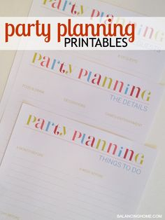 Party planning free printables