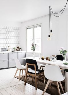 white and grey kitchen dining