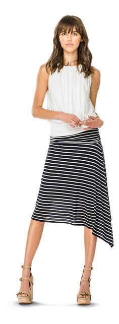 Asymmetrical Hem Skirt & blouson top