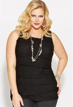 Plus Size Tiered Lace Tank image
