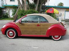 Very Vintage. Get this VW Beetle's look with a wooden vinyl wrap specially fitted for your car