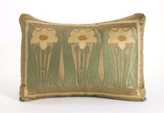"""""""NAPPER""""S DAFFODILS"""" Silk on silk appliqued pillow inspired by the Arts & Crafts Movement. Created without the aid of computers, hand cut, machine stitched x Applique Pillows, Throw Pillows, Accent Pillows, Art Nouveau, Art Deco, Art And Craft Design, Arts And Crafts Movement, French Decor, Craftsman Style"""