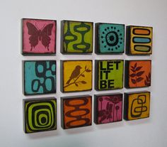 wood blocks with graphic patterns