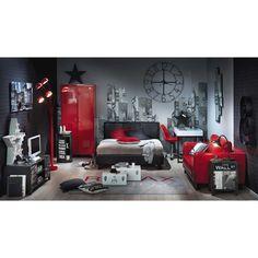 Bedside tables, beds and headboards Bedroom Red, Home Bedroom, Bedroom Decor, Cool Bedrooms For Boys, Cool Rooms, Teenage Room, Home Room Design, Room Setup, Boy Room