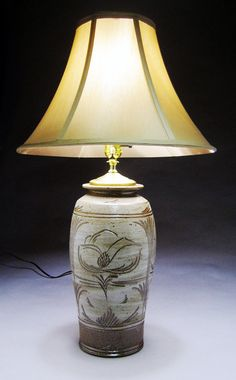 If I change the shade, it would be perfect for my upstairs room!  Love it!  Tall Lamp Woodfired/Saltglazed by jeffbrownpottery on Etsy, $225.00