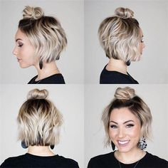 48 Short Haircuts Ideas for Women You Can Try 2019 - multicolored hair - Frisuren Short Brown Hair, Very Short Hair, Short Hair Cuts, Short Bob Updo, Styling Short Hair Bob, Style Short Hair, Short Hair Top Knot, Short Hair Styles For Round Faces, Undercut Hairstyles