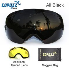 COPOZZ brand ski goggles 2 double lens UV400 anti-fog large spherical glasses skiing men women snowboard goggles GOG-201+Lens