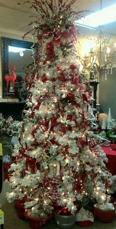 Beautiful Scarlet and White Christmas Tree!!! Bebe'!!! Love the Scarlet Ribbon!!!