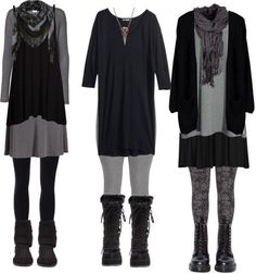 Fall Fashion 2017 Plus Size Dark Mori by requiemofafaerie featuring plus size tops Long dress / Black dress / ONLY black cardigan, $55 / Vero Moda open cardigan, $25 / H M plus size top, $23 / SPANX black tight, $29 /...