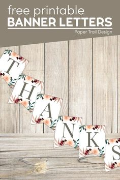 Print these fun floral banner letters to create any message or decoration that you need. Perfect for fall home decor. Free Printable Banner Letters, Blank Banner, Printable Paper, Floral Banners, Floral Letters, Fun Arts And Crafts, Arts And Crafts Projects, Paper Trail, Custom Banners